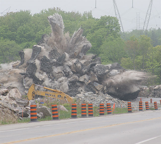 Rock blasting to make way for new highway.